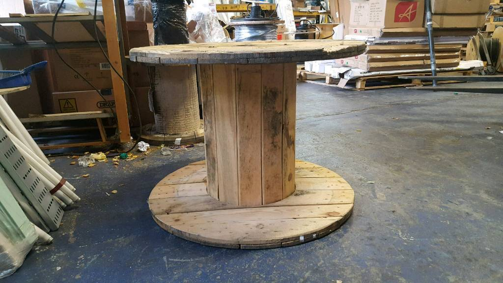 Large solid wooden cable drum