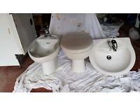 Bathroom Stuff. Basin, Toilet & Bidet in white