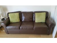 Ikea Brown Leather Sofa x 2 for sale