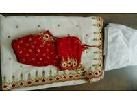 A red and white sari for sale
