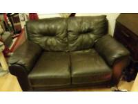 Dark brown leather sofas 2 seater and 3 seater