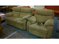 Fabric 2 seater sofa with electric reclining armchair
