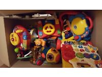 Free box of toddlers toys. All working vtech, fischer price etc