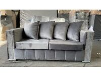 🟡🔵 Brand New Chesterfield Sofas in Soft Grey Fabric and Solid Timber Frame 🟡🔵