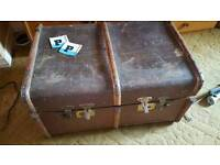 Very large vintage leather suitcase