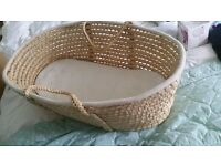 Wicker Moses Basket and Mattress