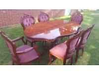 Italian Rococo Style Dining Table And 6 Chairs