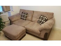 Brown cord sofa set - 3 seater, 2 seater and storage footstool