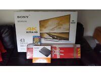 Sony Bravia X83C 4k LED tv +Sony blu ray DVD + tv bracket.