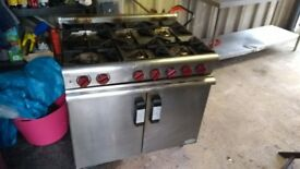 Commercial 6 burner and oven, natural gas for sale