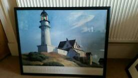 Large Custom Picture frame w/ Edward Hopper Poster