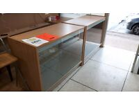 2 shop counters with glass display