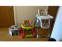 Chair walker (LIKENEW) high chair bumbo seat (LIKENEW) all with tray and safety belt BUNDLE
