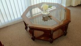 Beautiful Octagonal Coffee Table - Glass and Timber