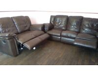 3 piece and 2 piece sofa - brown leather recliners