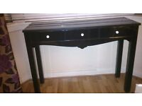 Black 3 drawer glass console table- Dressing Table- Lamp table with free triple black glass mirror