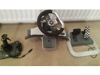 Xbox 360..sterring wheel..pedals and joystick