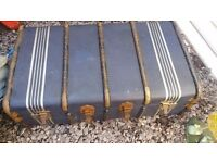 Vintage suitcase and steamer trunk travel chest demob
