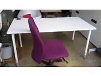 Computer / work table / office bench, with swivel chair