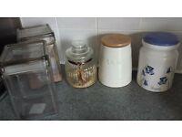 jars coffee ,sugar, tea jars