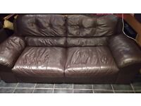Leather sofa three seat great condition