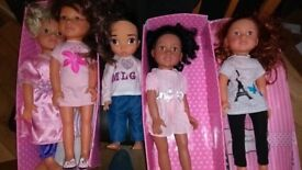 5 designer friend dolls , with outfits