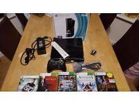 Xbox 360 S Console 250gb HD Model with games bundle Gloss Black w Original Box 1439