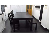 Solid Matte Black Set of 3 Chairs, Extendable Dining Table, And Black Bench