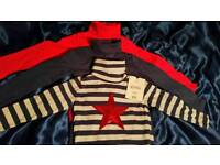 New - Pack of 3 girl's polo neck tops 9-12months