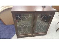 Pair Of Mahogany & Glass Sound System Units Will Sell Separately