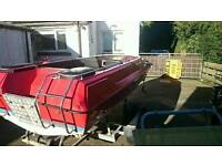 Simms SuperVee speedboat and trailer