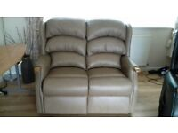 HSL Linton 2 Seater Beige Leather Sofa