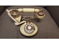 Vintage Rotary Dial French Victoria Princess Style Telephone Desk Phone (CREAM)