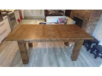 Genuine Oak Furniture Land Dining Table and Chairs with 6 Chairs and Custom Made Cushions
