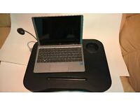 Lapdesk for laptop or craft work. Cushioned, lightweight with flexible light, cup & pencil holder