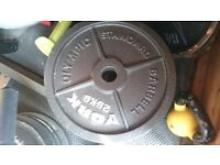 """York 2"""" Hole Olympic Cast Iron Weight Plates 2 x 25kg"""