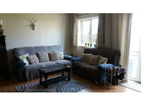 Blue Three Piece Suite, Very Comfortable, Excellent Condition