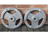 YORK & BODY POWER & TRI GRIP 10KG CAST IRON WEIGHT PLATES