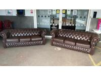 Stunning pair of 3 seater leather chesterfield sofas £1100