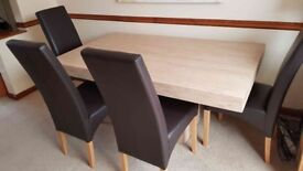 """Scandinavian style """"beige marble"""" dining table with 6 chairs, excellent condition, £150 ono"""