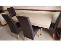 """Scandinavian style beige marble"" dining table with 6 chairs, excellent condition, £150 ono"