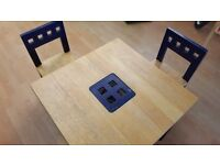 Children wood table and chairs