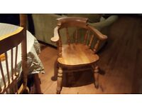 Vintage Retro Style Country Cottage Style Pine Captains Style Carver Dining Chair Bedroom Chair