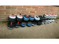 Various 2x10kg weight dumbbell pairs