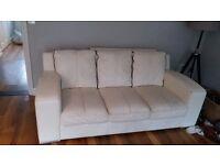 Off white leather 3 piece sofa