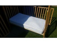 Mothercare play bead cot with mattress and sliding baby changer