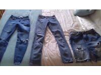 Jeans, skirt, blouse