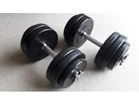 28KG BODYMAX DELUXE RUBBER DUMBBELL WEIGHTS SET - 2 x 14KG