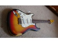 Left handed Electric Guitar Vintage Icon V6 Distressed Sunburst plus modifications