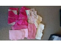 Bundle (3) Girl Age 12-18 Month Clothes Inc Tops, Cardigans and a shorty UV Suit